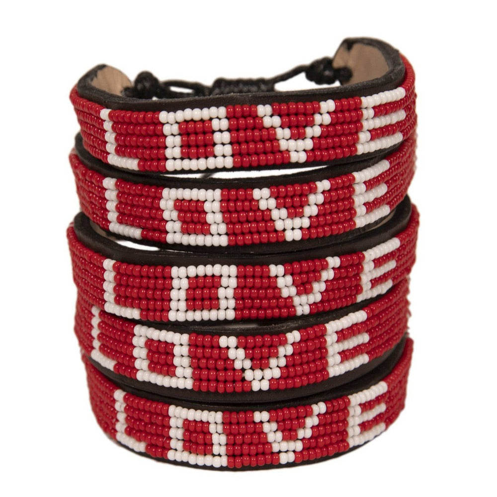 Bundle - Big LOVE Bracelets Love Is Project Glass beaded Original Red Love Bracelet creates jobs for female artisans in Kenya