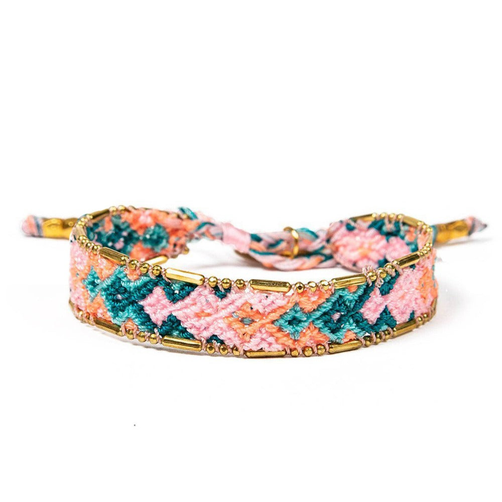Bali Friendship Bracelet - Pink, Blue & Orange