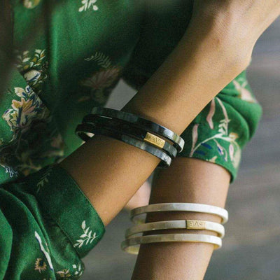 Trinity Horn Bangle - Black & White bangle bracelets hand made by artisans. Love Is Project creates jobs for women worldwide.