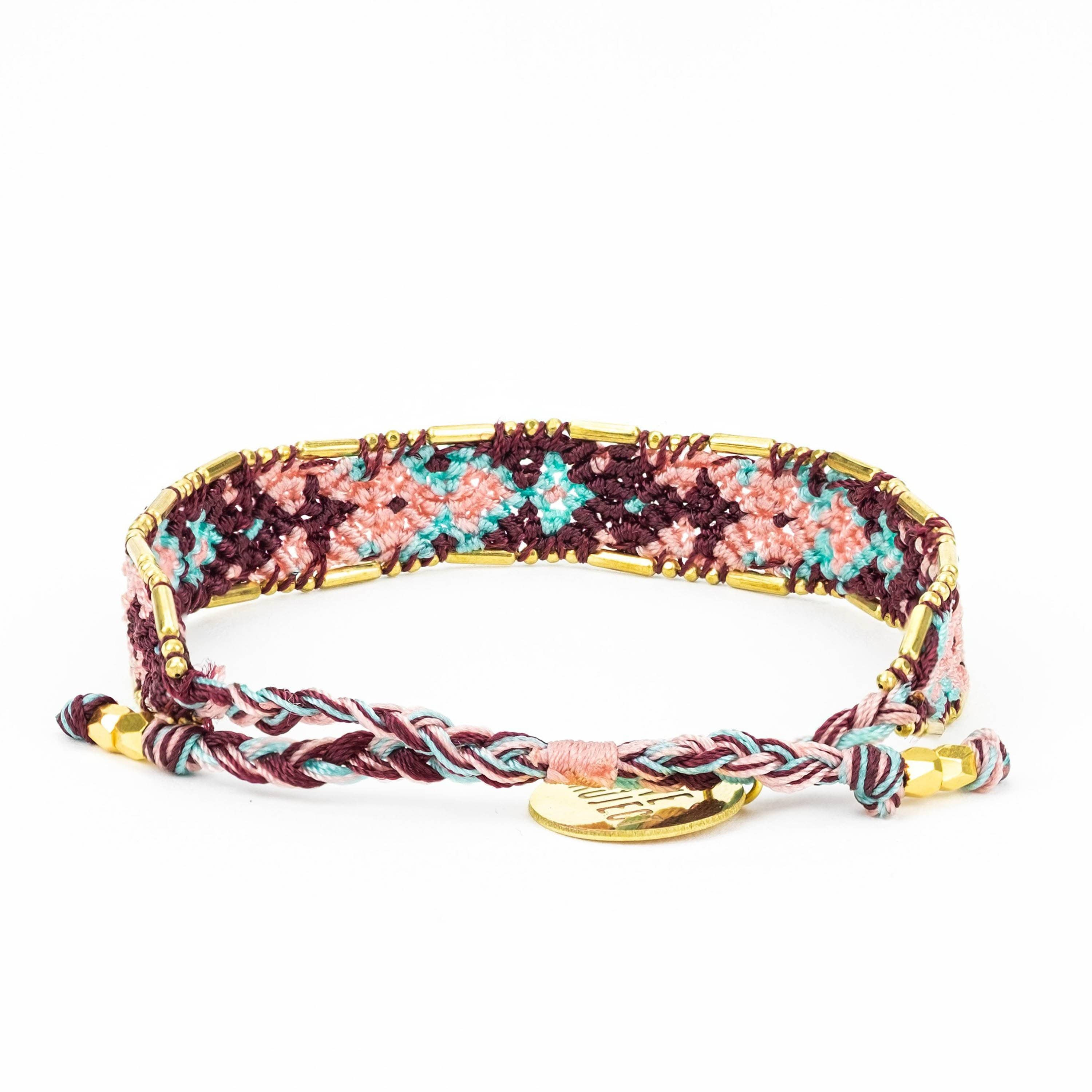 Bali Friendship Bracelet - Sunset Uluwatu back view Love Is Project woven bracelets by artisans in Indonesia. Beaded bracelets creates jobs.