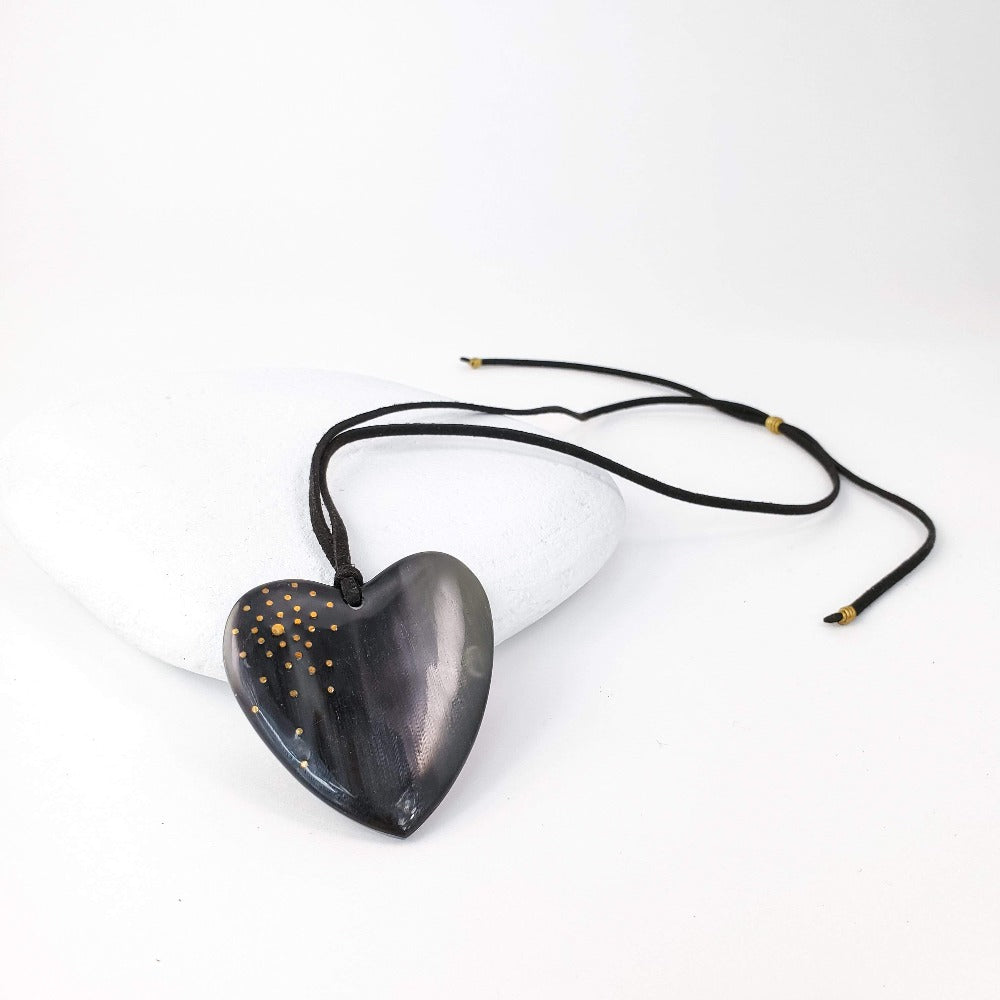 New Engravable Open Your Heart Necklace - Black