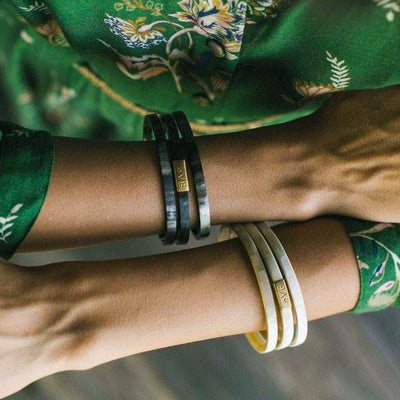 Trinity Horn Bangle - Black & White