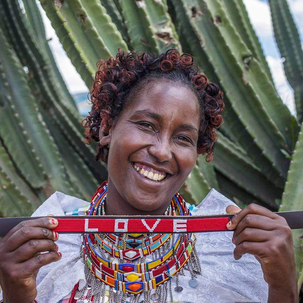 LOVE Pet Collar - Red handmade in Kenya. Glass beaded leather dog collar Love Is Project creates jobs for artisans worldwide. Maasai