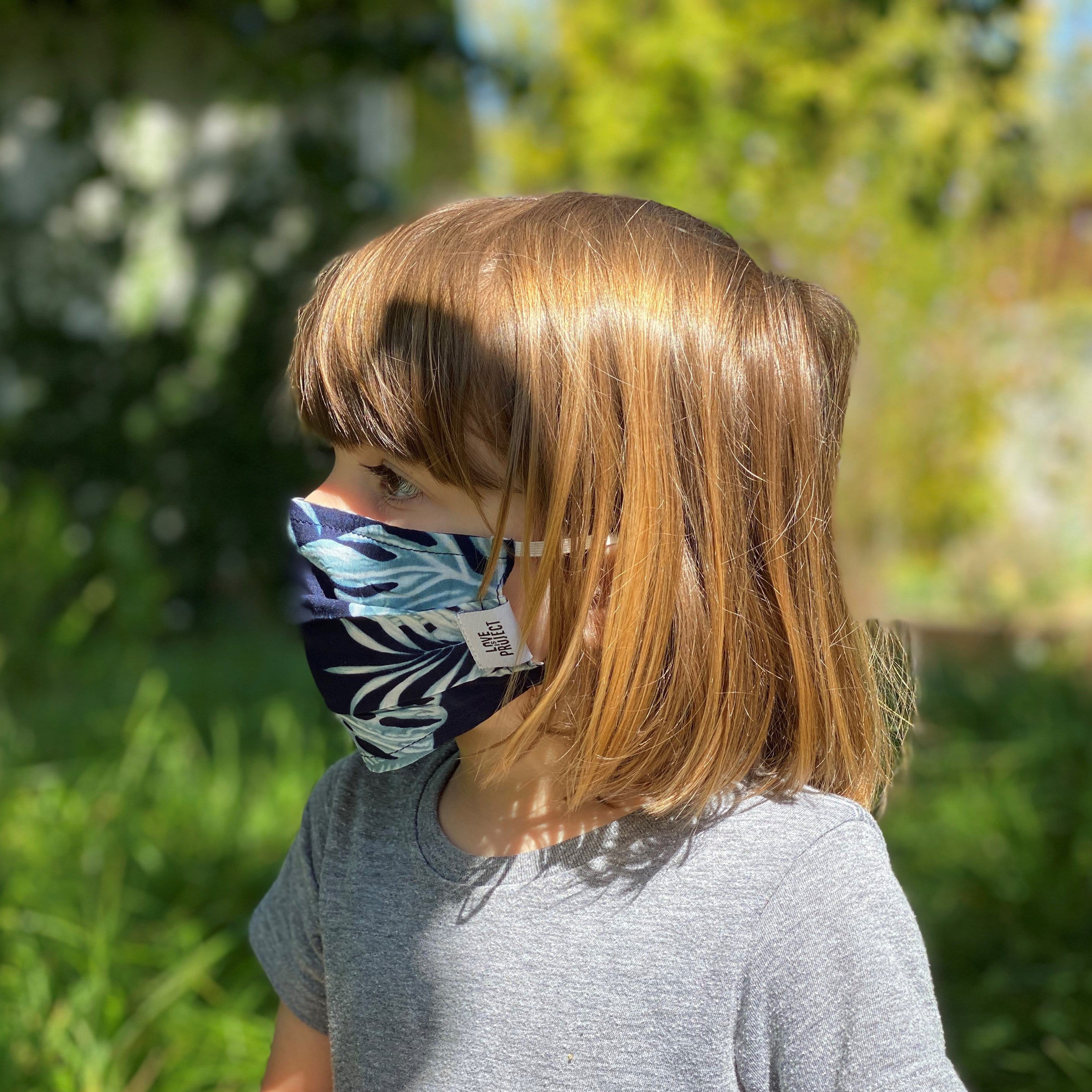 Kids' Aloha Elastic Face Mask - Dark Navy