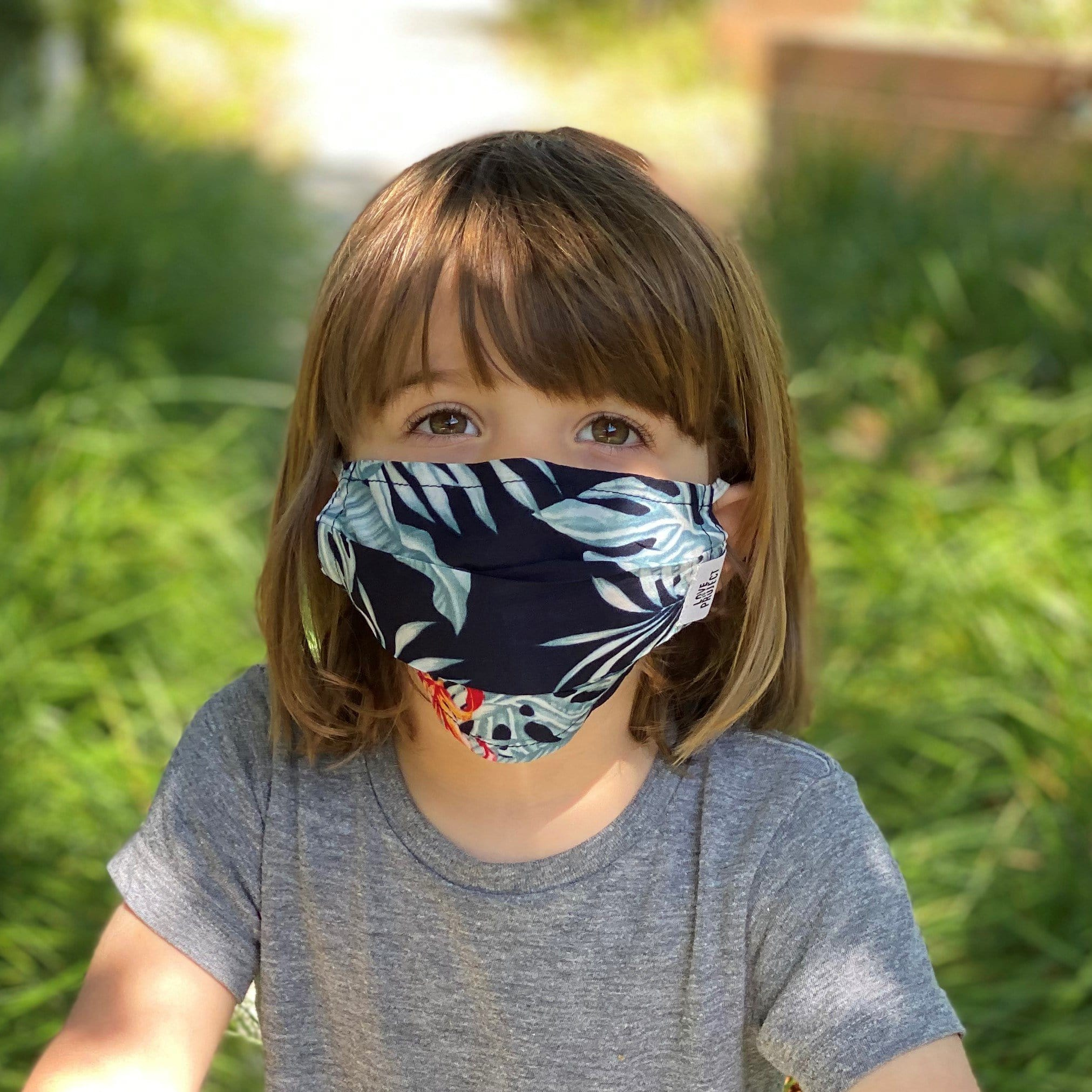 Kids' Aloha Elastic Face Mask - Dark Navy - Love Is Project
