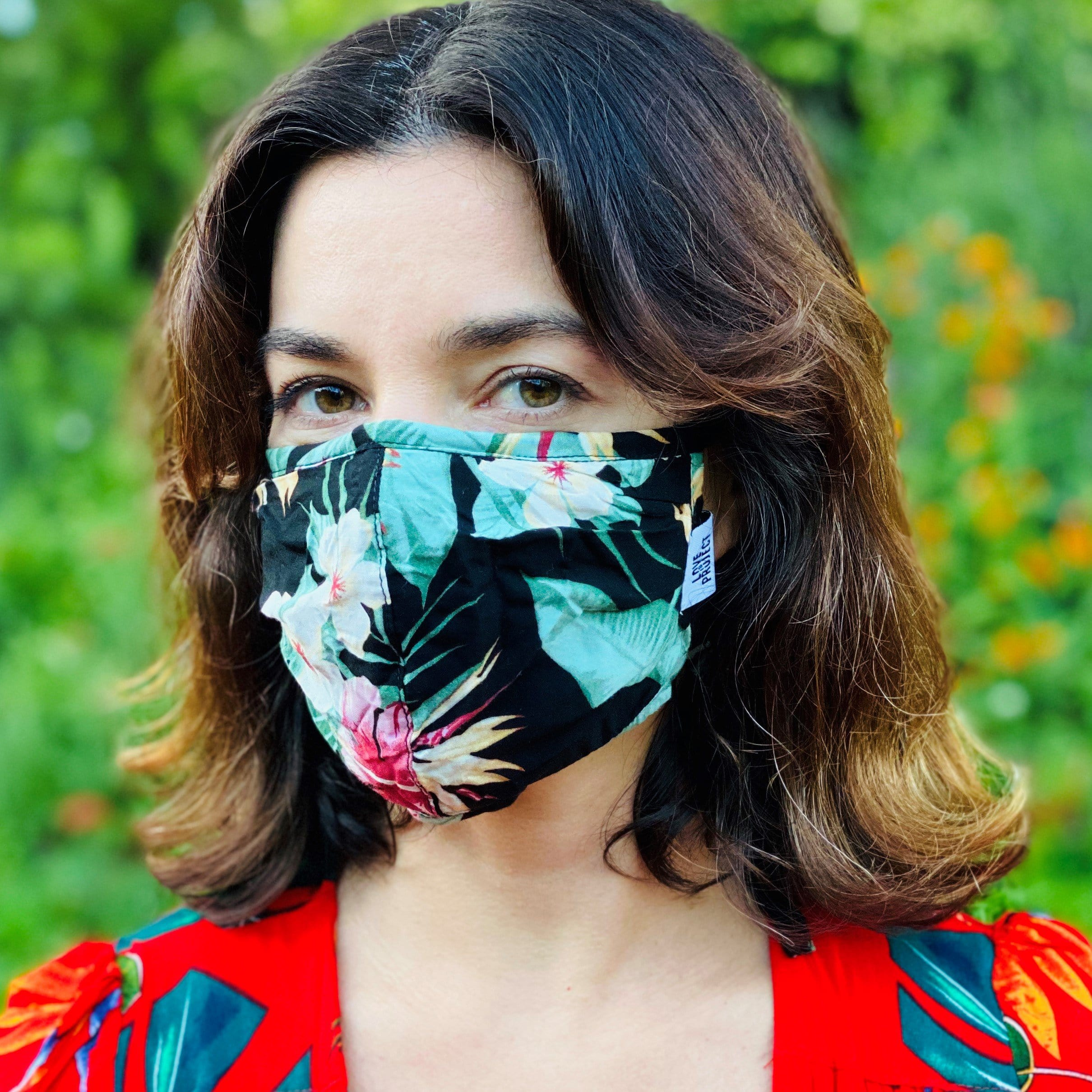Aloha Tie Face Mask - Midnight Black