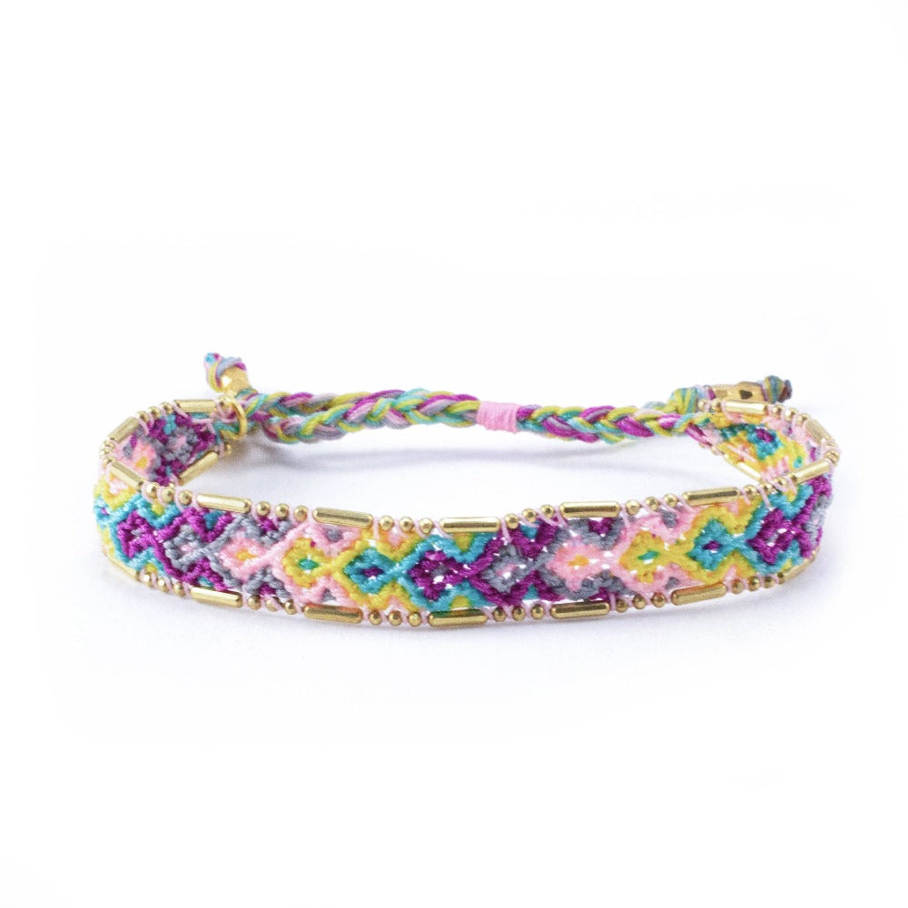 Bali Friendship Bracelet - Bloom Violet Love Is Project woven bracelets by artisans in Indonesia. Beaded bracelets creates jobs.