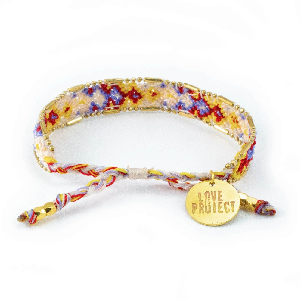 Bali Friendship Bracelet - Desert Gypsum back view Love Is Project woven bracelets by artisans in Indonesia. Beaded bracelets creates jobs.