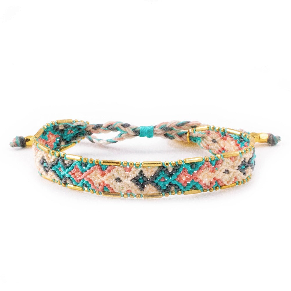 Bali Friendship Bracelet - Desert Quartz Love Is Project woven bracelets by artisans in Indonesia. Beaded bracelets creates jobs.