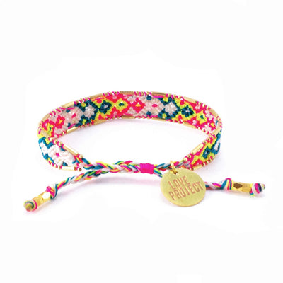 Bali Friendship Bracelet - Electric Feel back view Love Is Project woven bracelets by artisans in Indonesia. Beaded bracelets creates jobs.