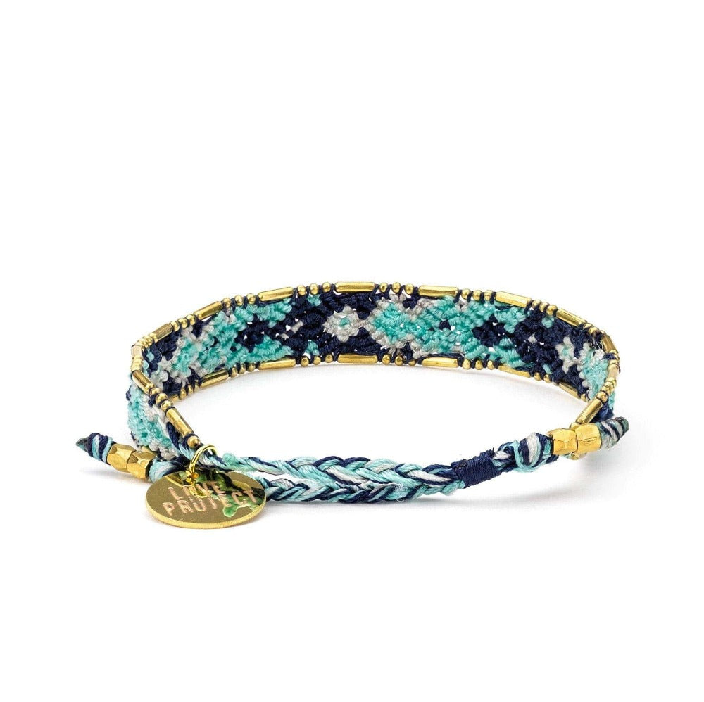 Bali Friendship Bracelet - Ocean Plunge back view Love Is Project woven bracelets by artisans in Indonesia. Beaded bracelets creates jobs.