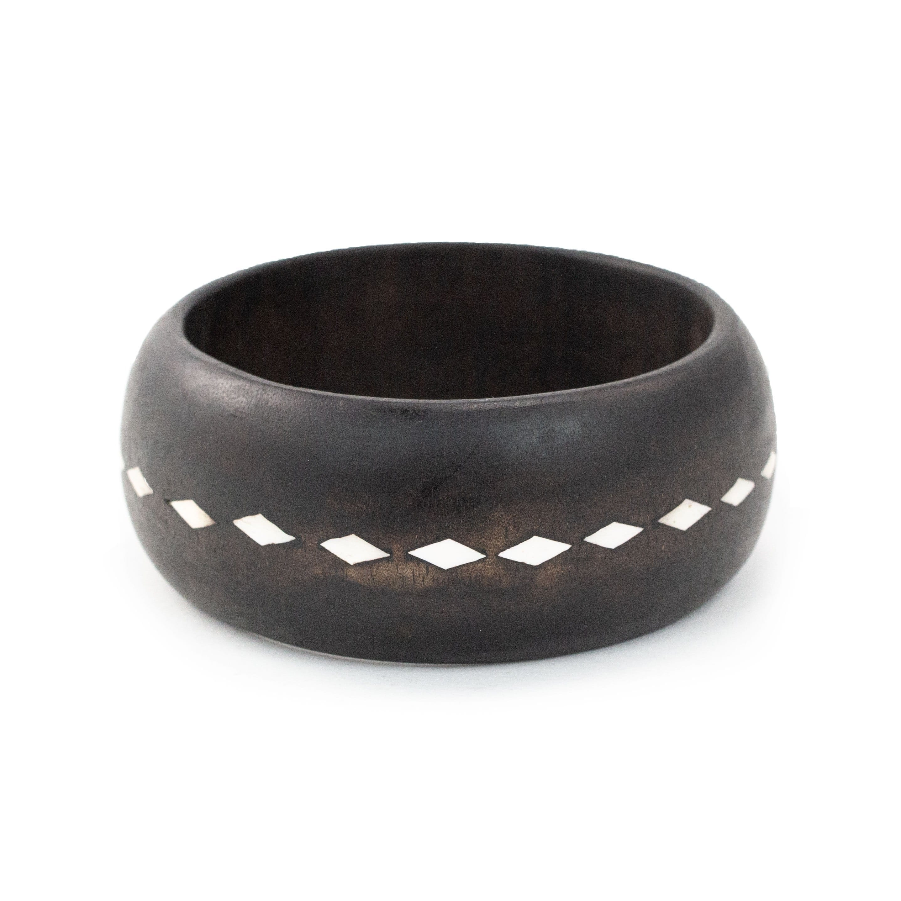 Mindanao Pearl & Wood Bangle - Sun back view made by artisans in the Philippines. Love Is Project creates jobs.