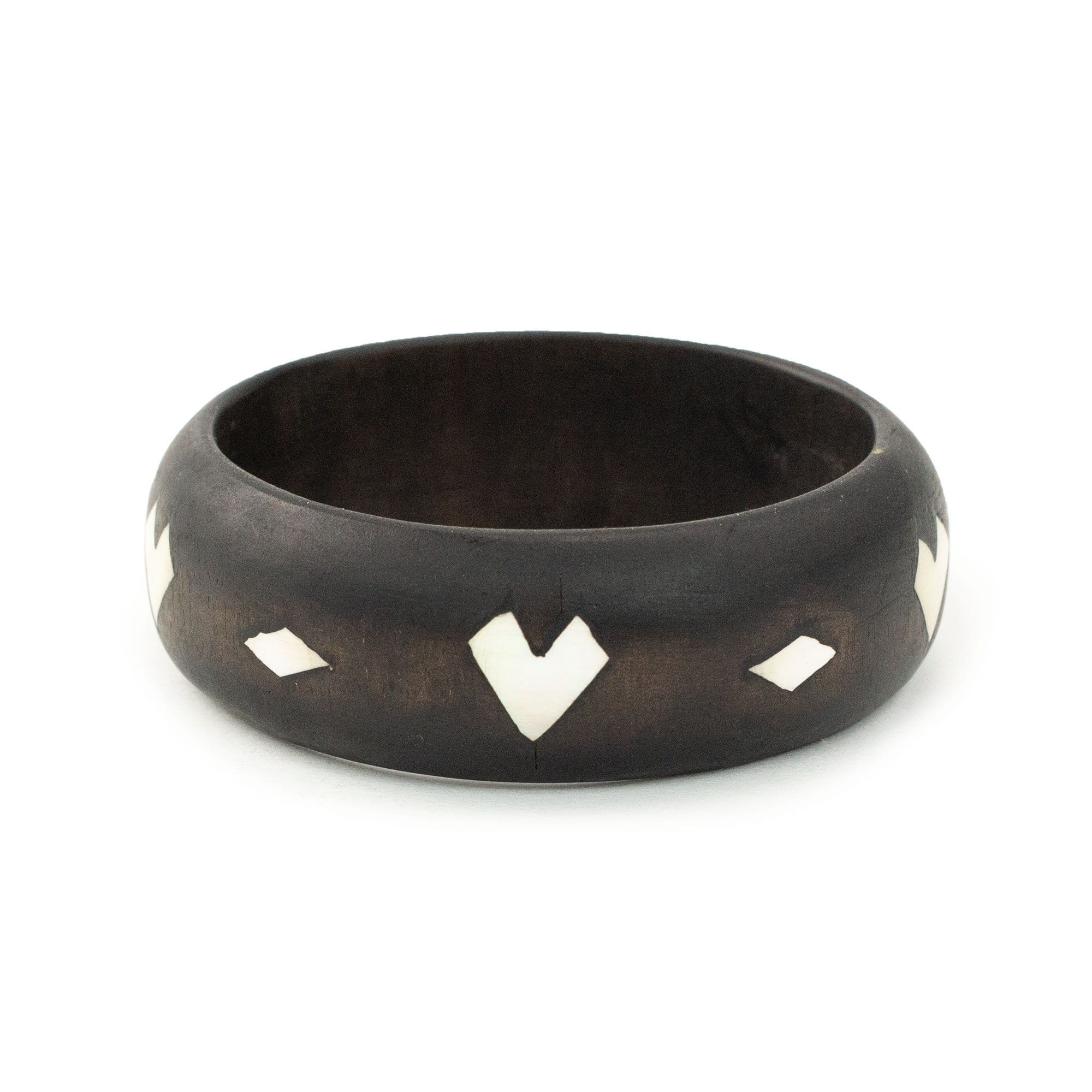 Mindanao Pearl & Wood Bangle - Heart