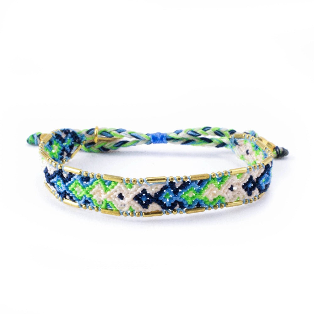 Bali Friendship Bracelet - Lagoon Emerald Love Is Project woven bracelets by artisans in Indonesia. Beaded bracelets creates jobs.