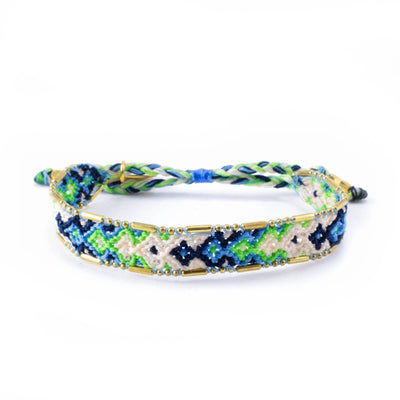 Bundle - Lagoon Friendship Bracelets woven beaded Love Is Project bracelets made by female artisans in Bali, Indonesia. Creates jobs