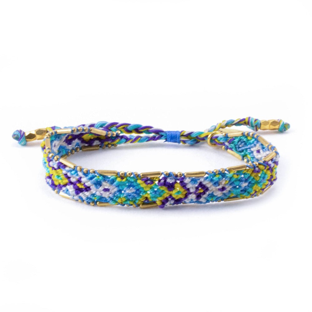 Bali Friendship Bracelet - Lagoon Ice Love Is Project woven bracelets by artisans in Indonesia. Beaded bracelets creates jobs.