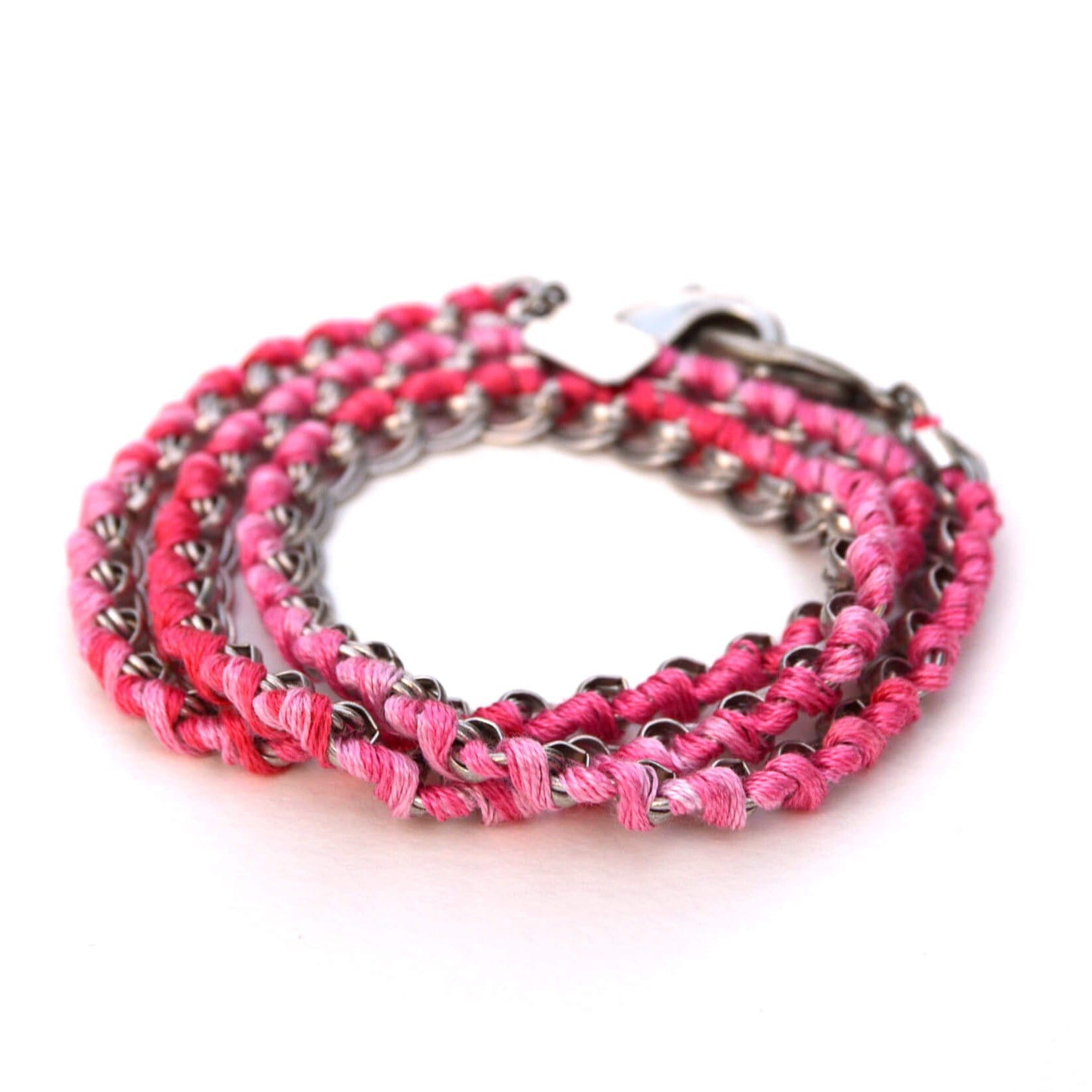 LOVE Links 3-in-1 Necklace + Bracelet + Mask Holder - Antique Silver Pink Ombré