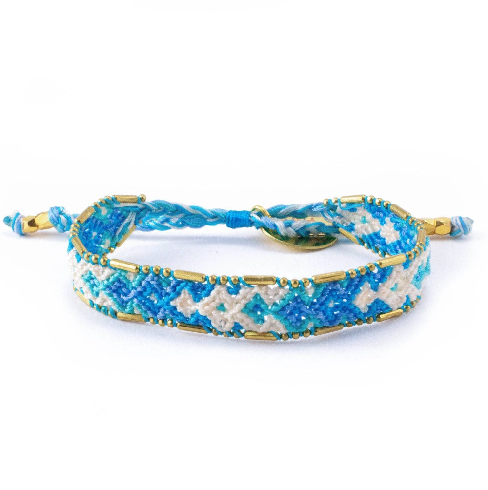 Bali Friendship Bracelet - Ocean Foam Love Is Project woven bracelets by artisans in Indonesia. Beaded bracelets creates jobs.