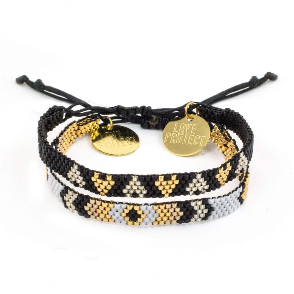 NEW ARRIVAL Chaquira Bracelet Set (of 2) - Black & Brown