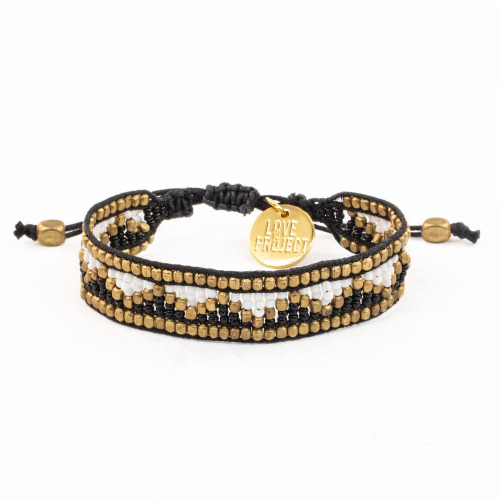 Taj Beaded Bracelet - Black and White