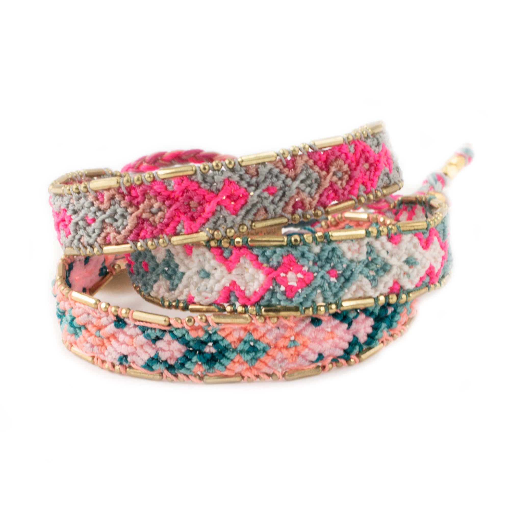Bundle - Canyon Friendship Bracelets woven beaded Love Is Project bracelets made by female artisans in Bali, Indonesia. Creates jobs