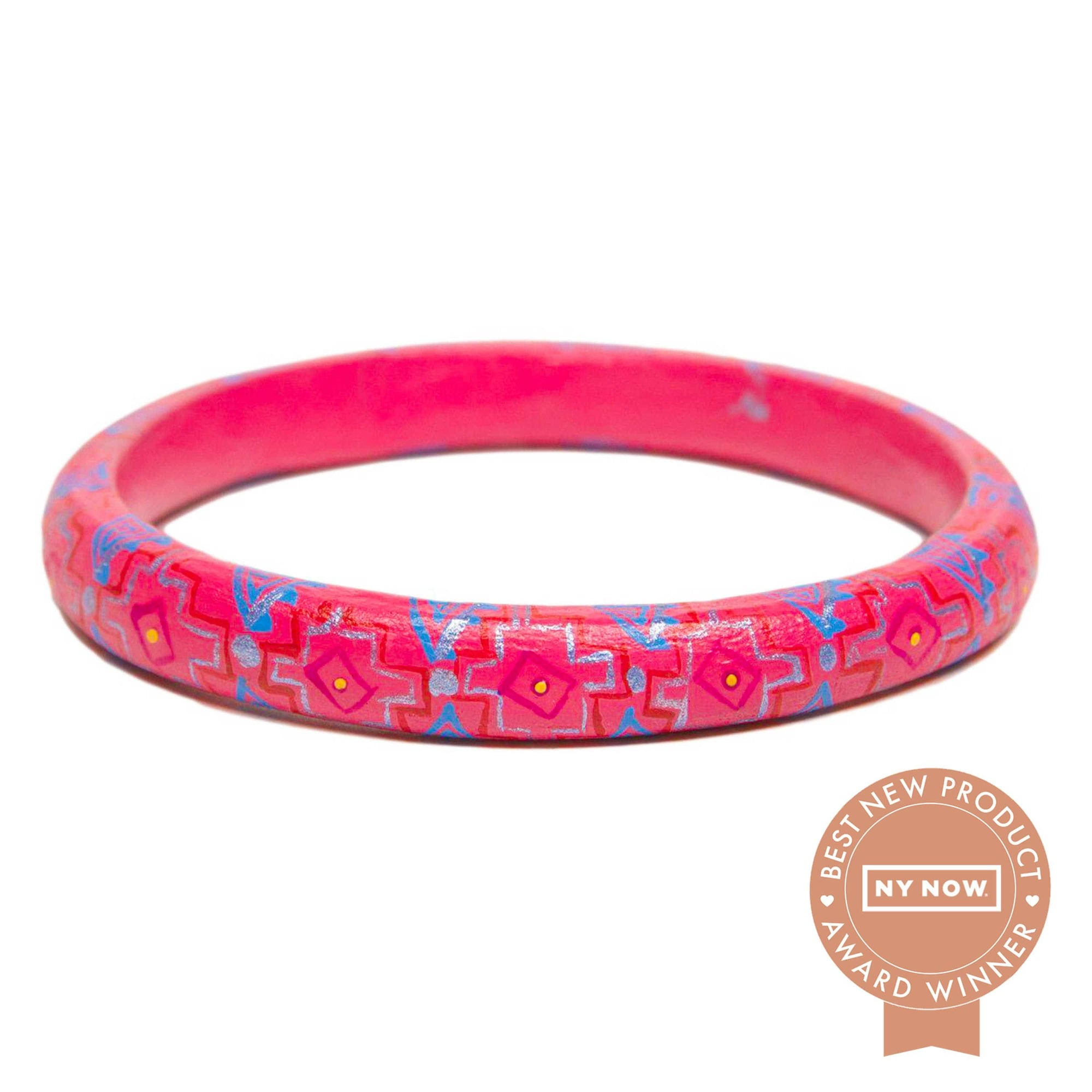 Corazon Wooden Bangle - Pink