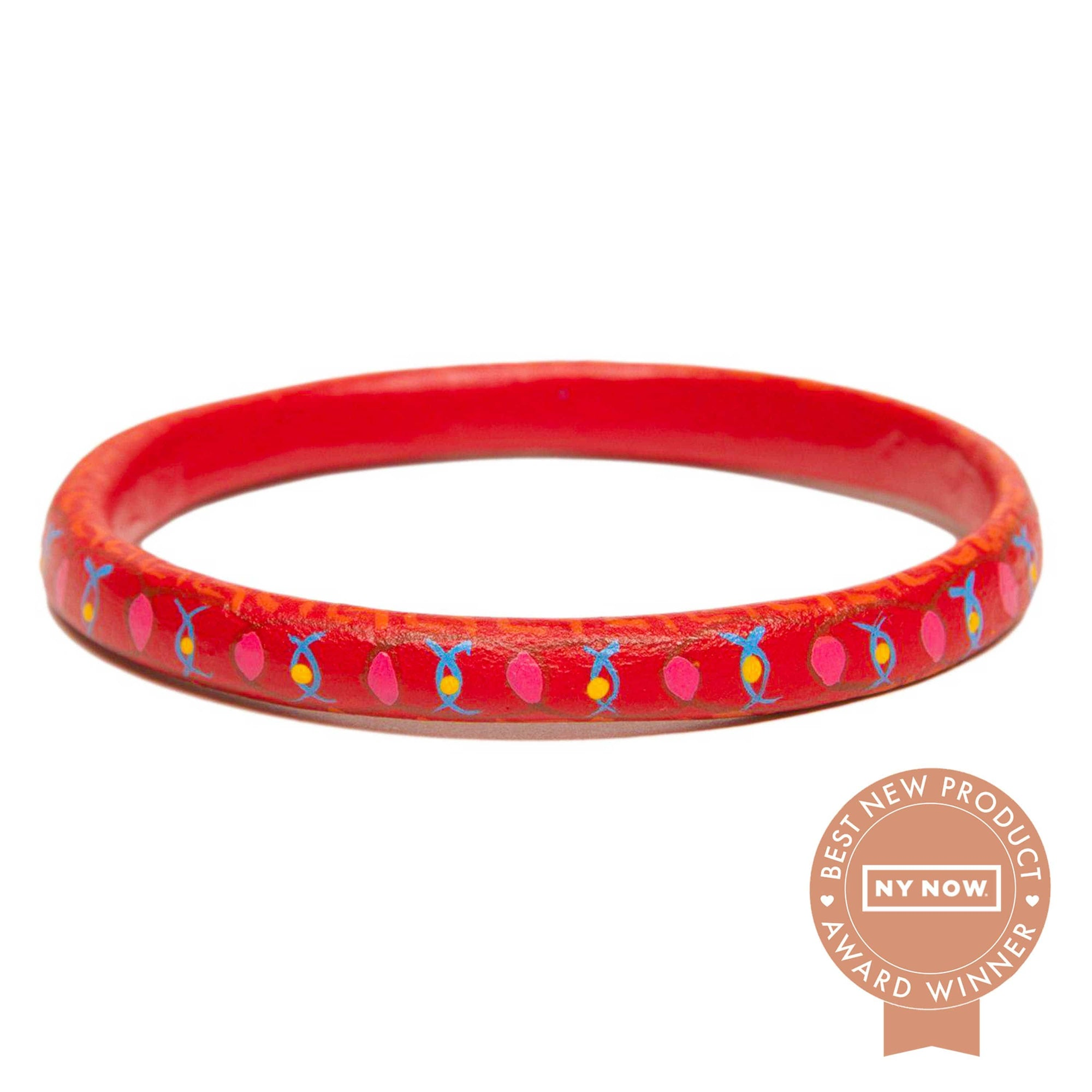 Corazon Wooden Bangle - Red