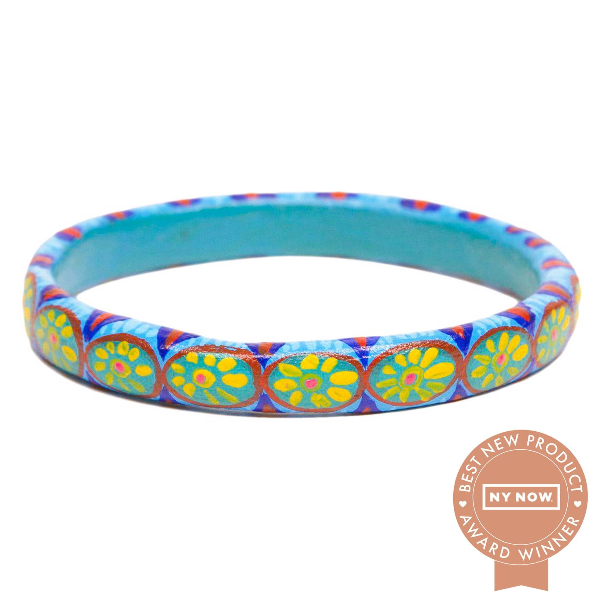Corazon Wooden Bangle - Turquoise