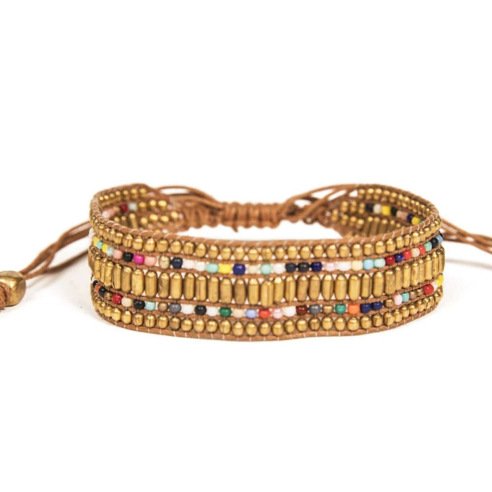 Love Is Project Darjeeling Bracelet - Gold made by artisans in India. Beaded bracelets creates jobs.