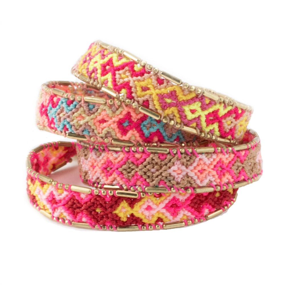 Bundle - Fire Friendship Bracelets woven beaded Love Is Project bracelets made by female artisans in Bali, Indonesia. Creates jobs
