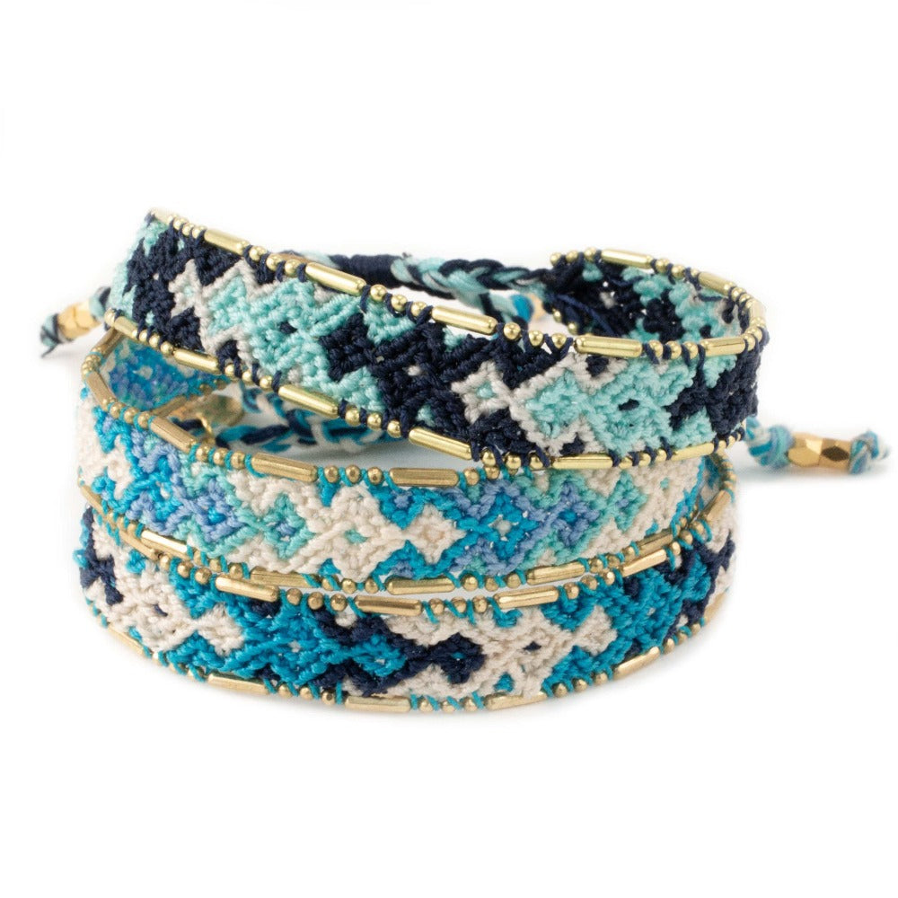 Bundle - Ocean Friendship Bracelets woven beaded Love Is Project bracelets made by female artisans in Bali, Indonesia. Creates jobs