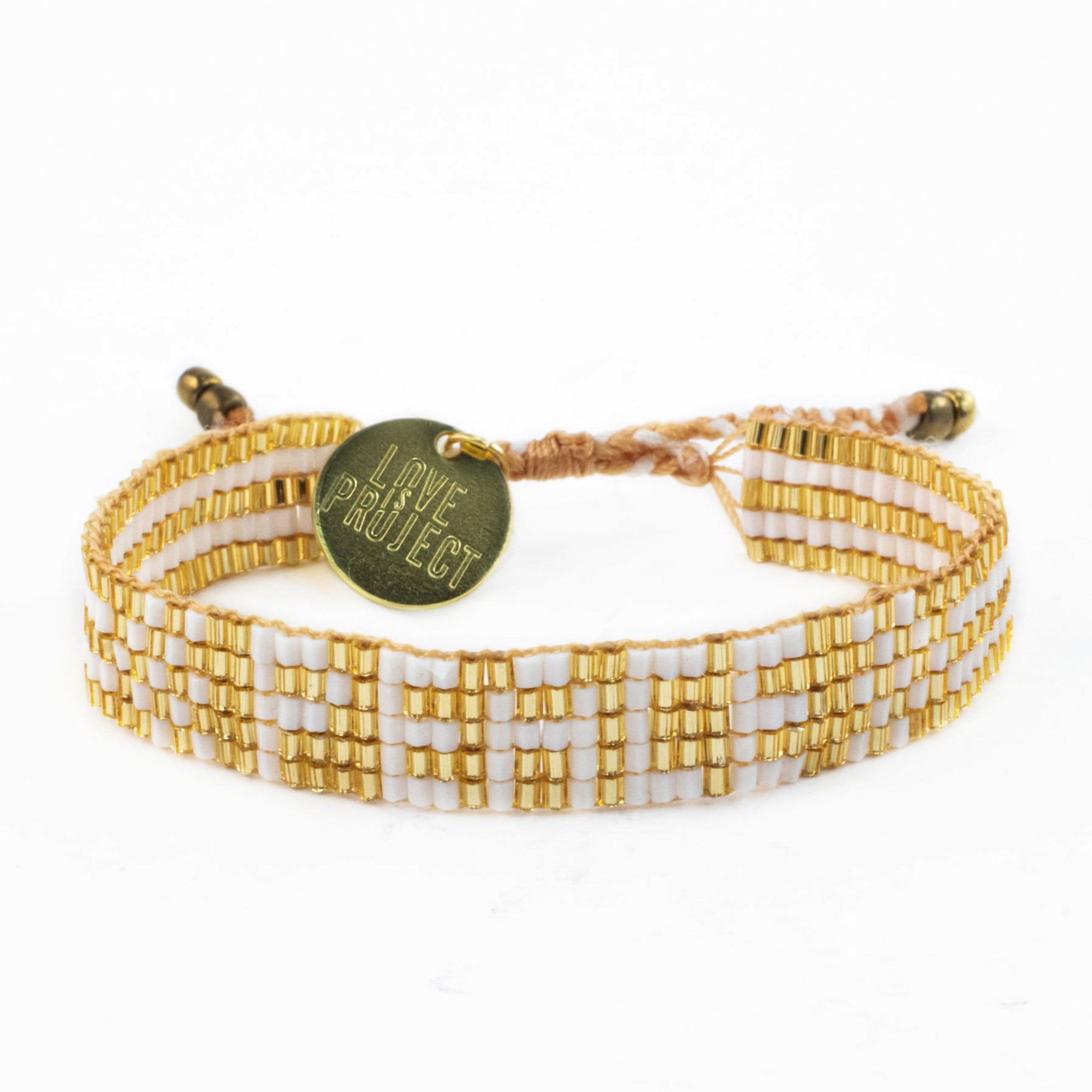 New Arrival Prince of Peace - Seed Bead PEACE Bracelet  - Gold & White