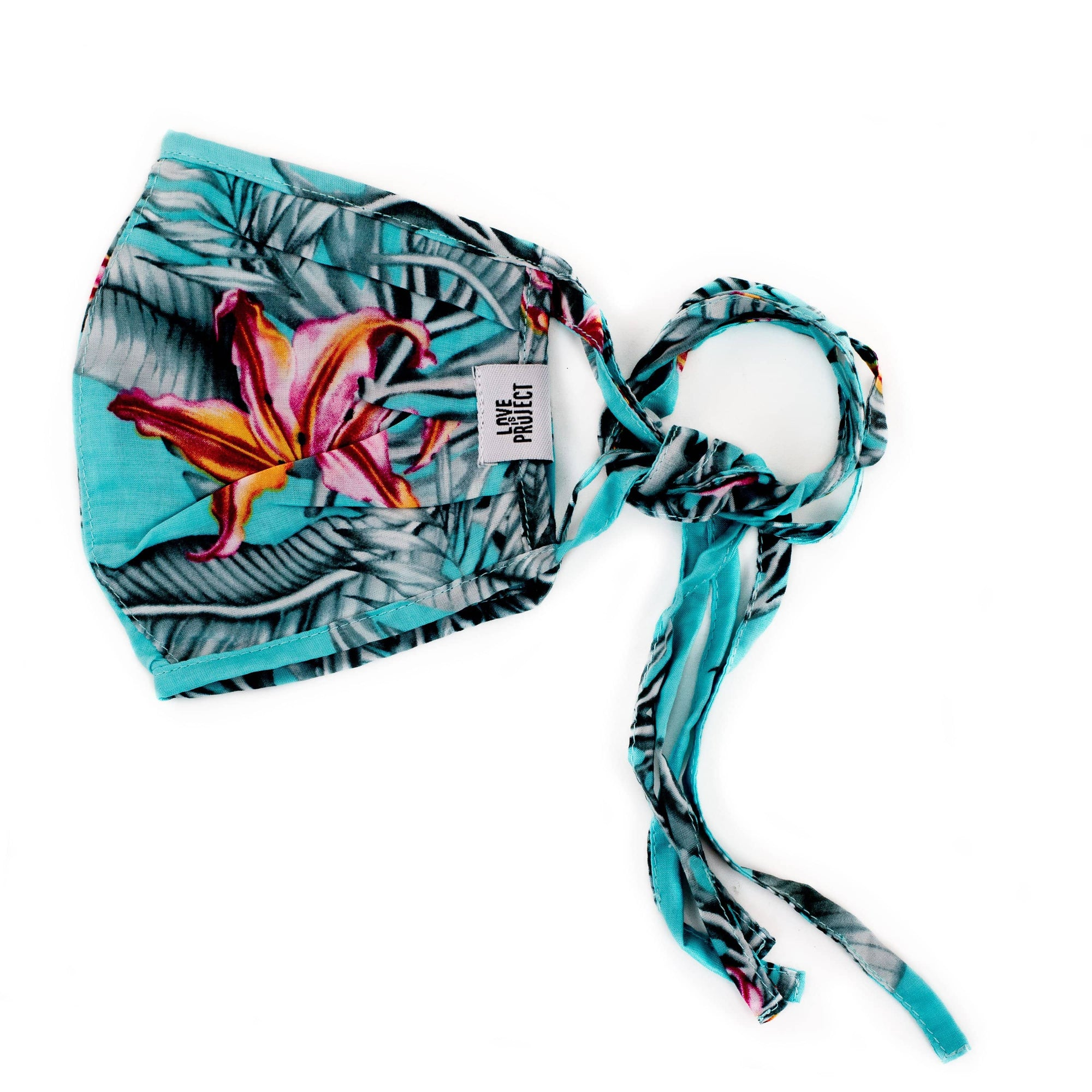 Aloha Tie Face Mask - Turquoise - Love Is Project