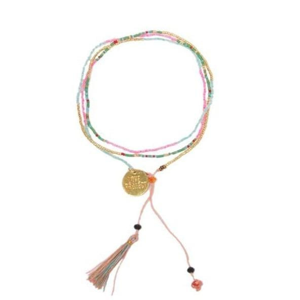Bali UNITY Beaded Wrap / Necklace - Peach