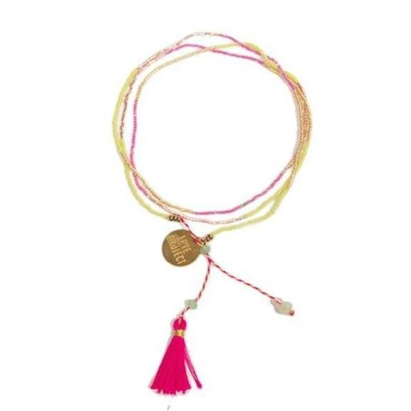 Bali UNITY Beaded Wrap/Necklace - Pink - Love Is Project