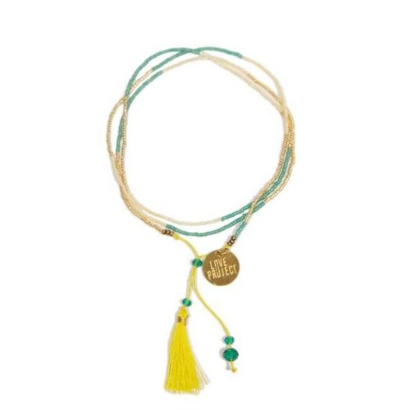 Bali UNITY Beaded Wrap/Necklace - Yellow - Love Is Project