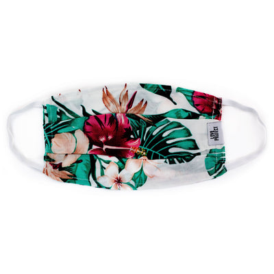 Aloha Elastic Face Mask - White