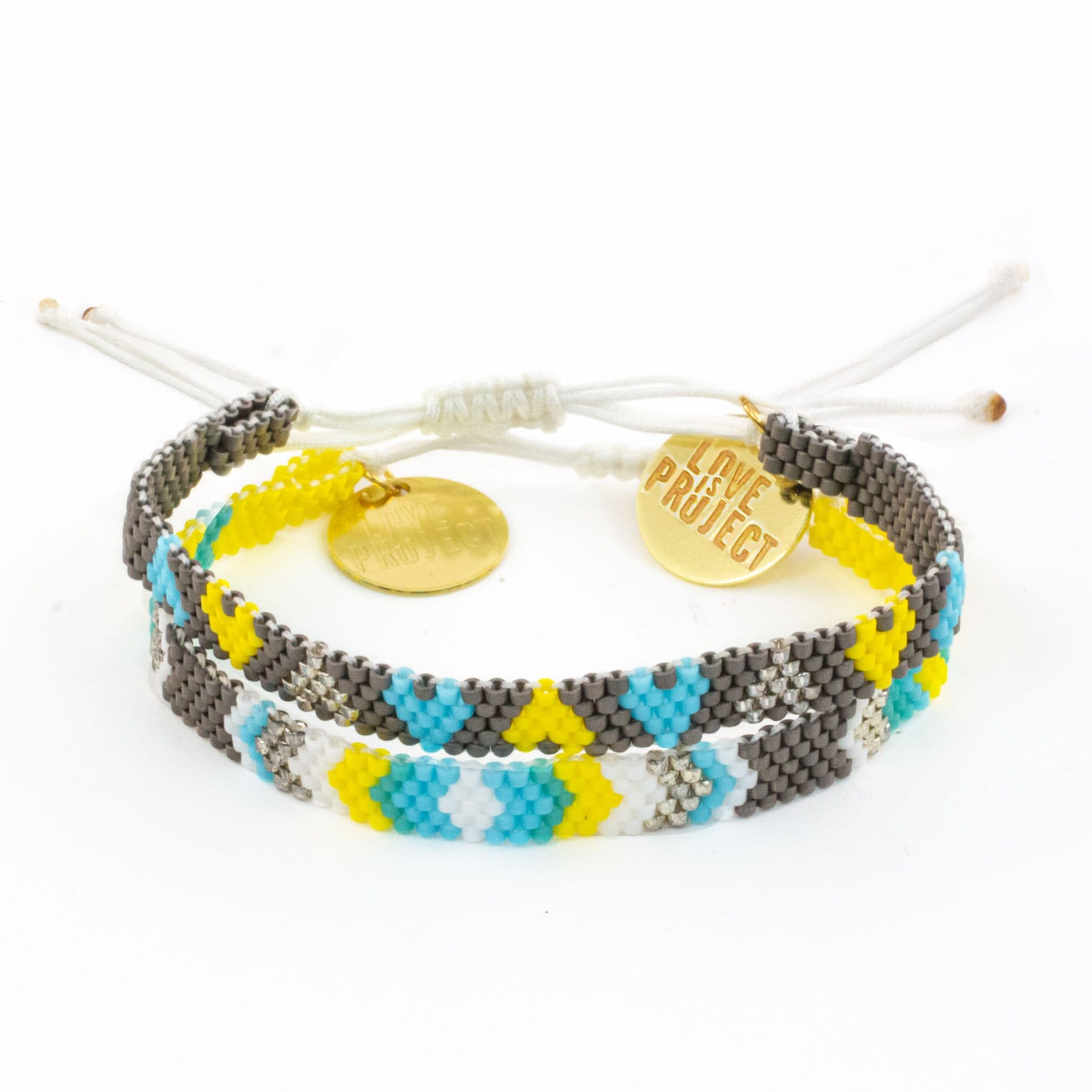 NEW ARRIVAL Chaquira Bracelet Set (of 2) - Blue & White
