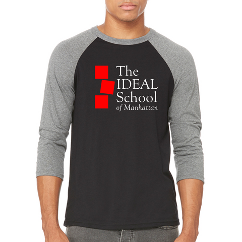 """The Ideal School"" Logo Unisex 3/4 Sleeve -Grey/Black (B+C 3200)"