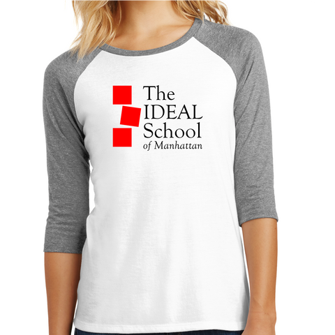 """The Ideal School"" Logo Unisex 3/4 Sleeve -Grey/White"
