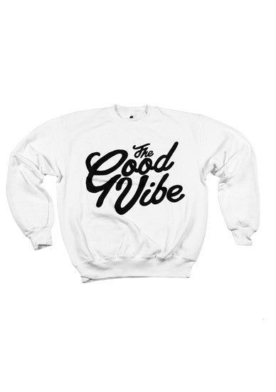 The Good Vibe White Crewneck Sweater