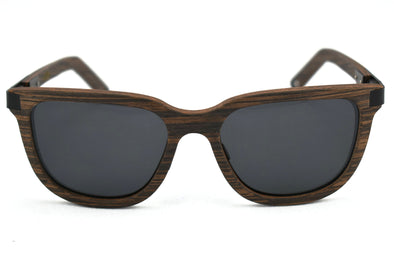 Black Walnut And Metal Sunglasses - Alloy