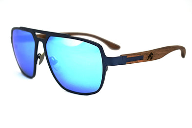 Cobalt Blue Titanium & Walnut Aviator Sunglasses - Corsair