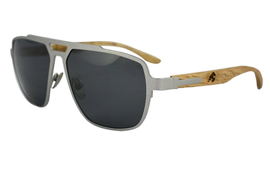 Titanium & Zebra Wood Aviator Sunglasses - Corsair