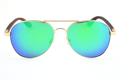 Classic Gold Aviator With Wood Sunglasses