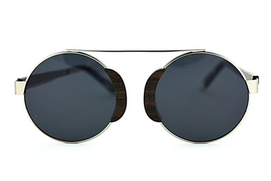 Round Shape Metal And Wood Sunglasses