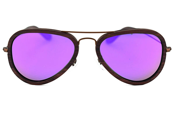 Metal & Wood Aviator Sunglasses For Men And Women