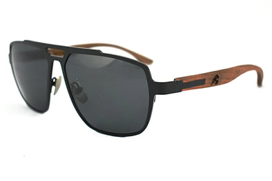 Black Titanium & Rosewood Aviator Sunglasses - Corsair