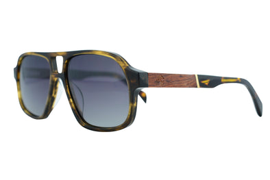 Acetate & Wood Aviator Sunglasses - Commander