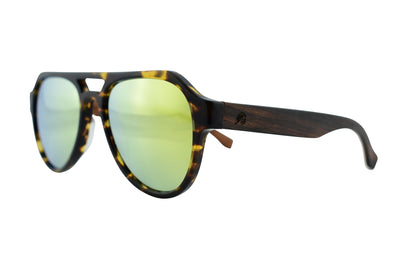 Cotton Acetate & Wood Aviator Sunglasses - Quest